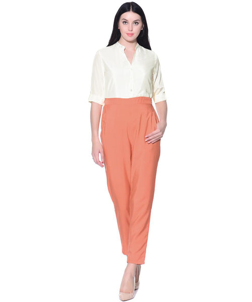 White Peach Chinese Collar Jumpsuit - Uptownie