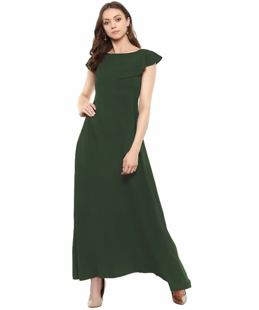 Army Green Solid Crepe Ruffled Maternity Dress/Gown