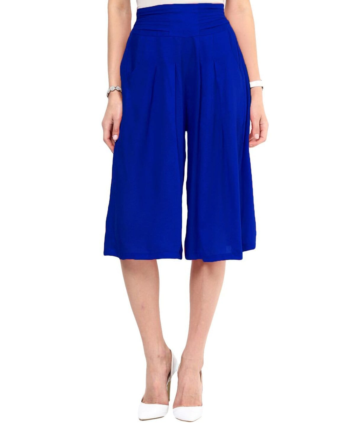 Blue Rayon Adjustable Culottes - Uptownie