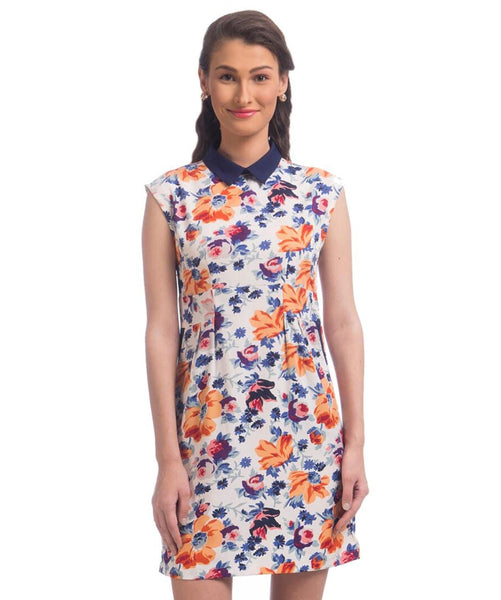 Printed White Shift Crepe Dress - Uptownie