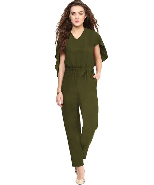 Olive Green Back Cape Jumpsuit - Uptownie