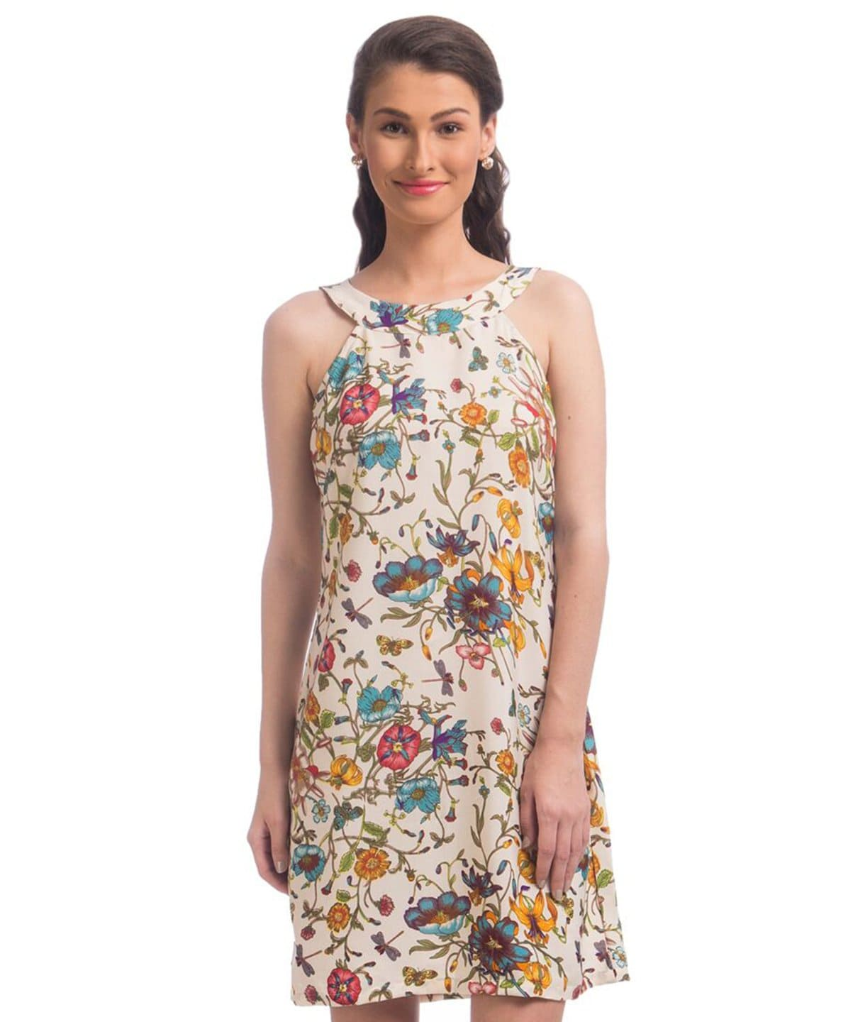 Printed White Casual Crepe Dress - Uptownie