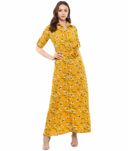 Uptownie Plus Floral Print Collar Buttoned Down Shirt Maxi Dress