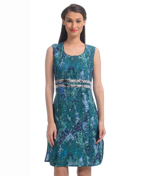 Printed Green Casual Crepe Dress - Uptownie