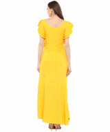 Yellow Solid Ruffled Round Neck Maxi Dress/Gown