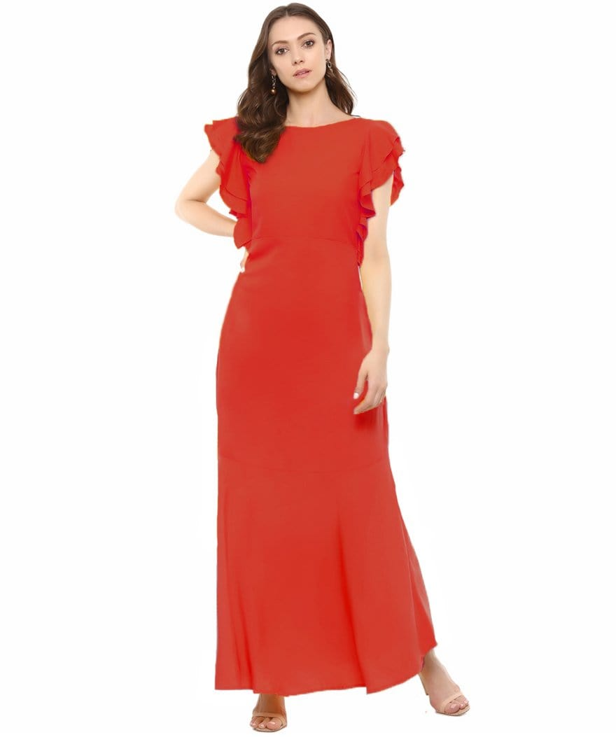 Red Solid Ruffled Round Neck Maxi Dress/Gown