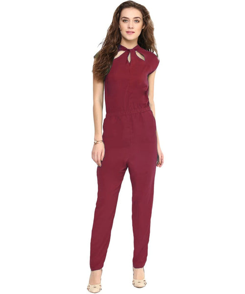 Maroon Neck Cut-out Jumpsuit - Uptownie