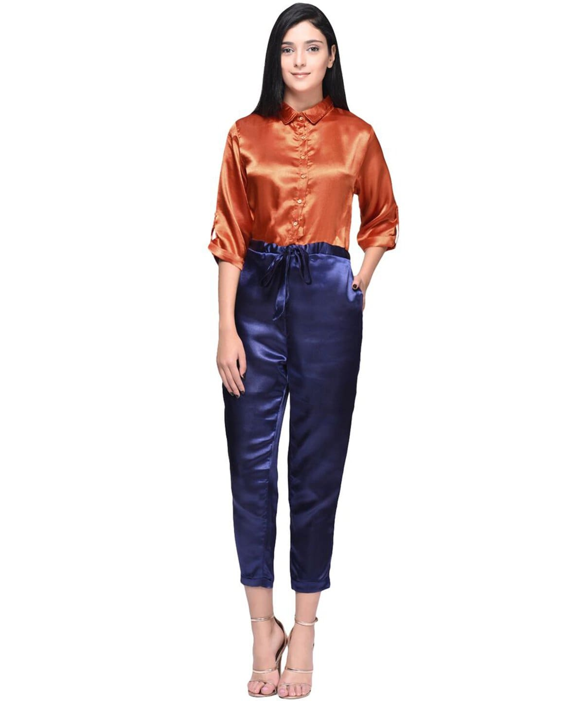 Satin Orange and Blue Buttoned Jumpsuit - Uptownie