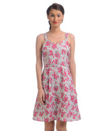 Printed Pink Skater Dress - Uptownie