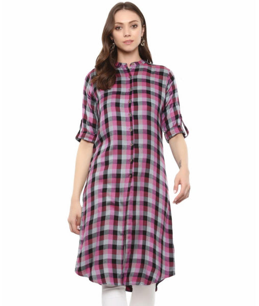 Printed Purple Cotton Checked Kurti