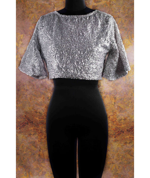 Uptownie X Pearl-Solid Silver Sequins Cape Top