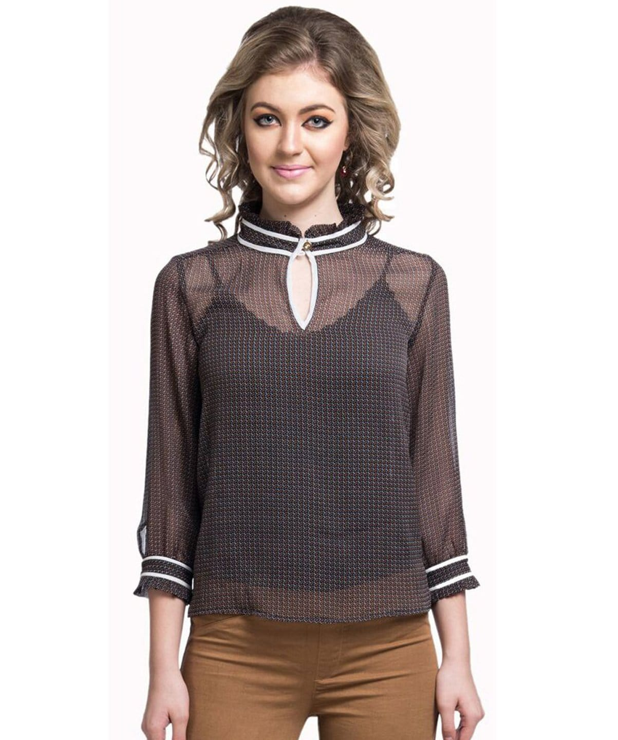 Solid Brown Casual Chiffon Top - Uptownie