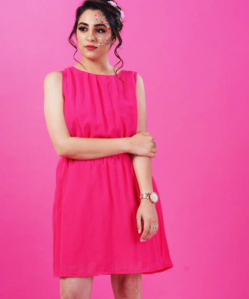 Solid Pink Pleated Georgette Dress - Uptownie