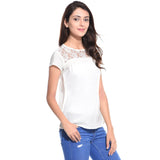 Solid White Lace Neck Crepe Top,BUY3GET2