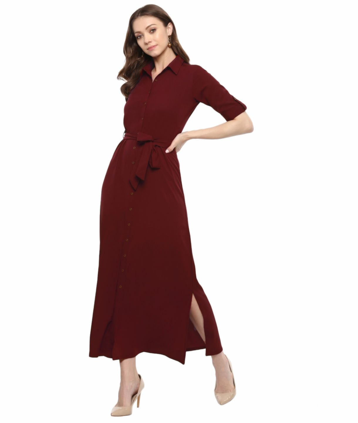 Uptownie Plus Maroon Solid Crepe Collar Buttoned Down Shirt Maxi Dress