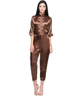 Brown Satin Jumpsuit - Uptownie