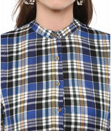 Printed Blue Cotton Checked Kurti