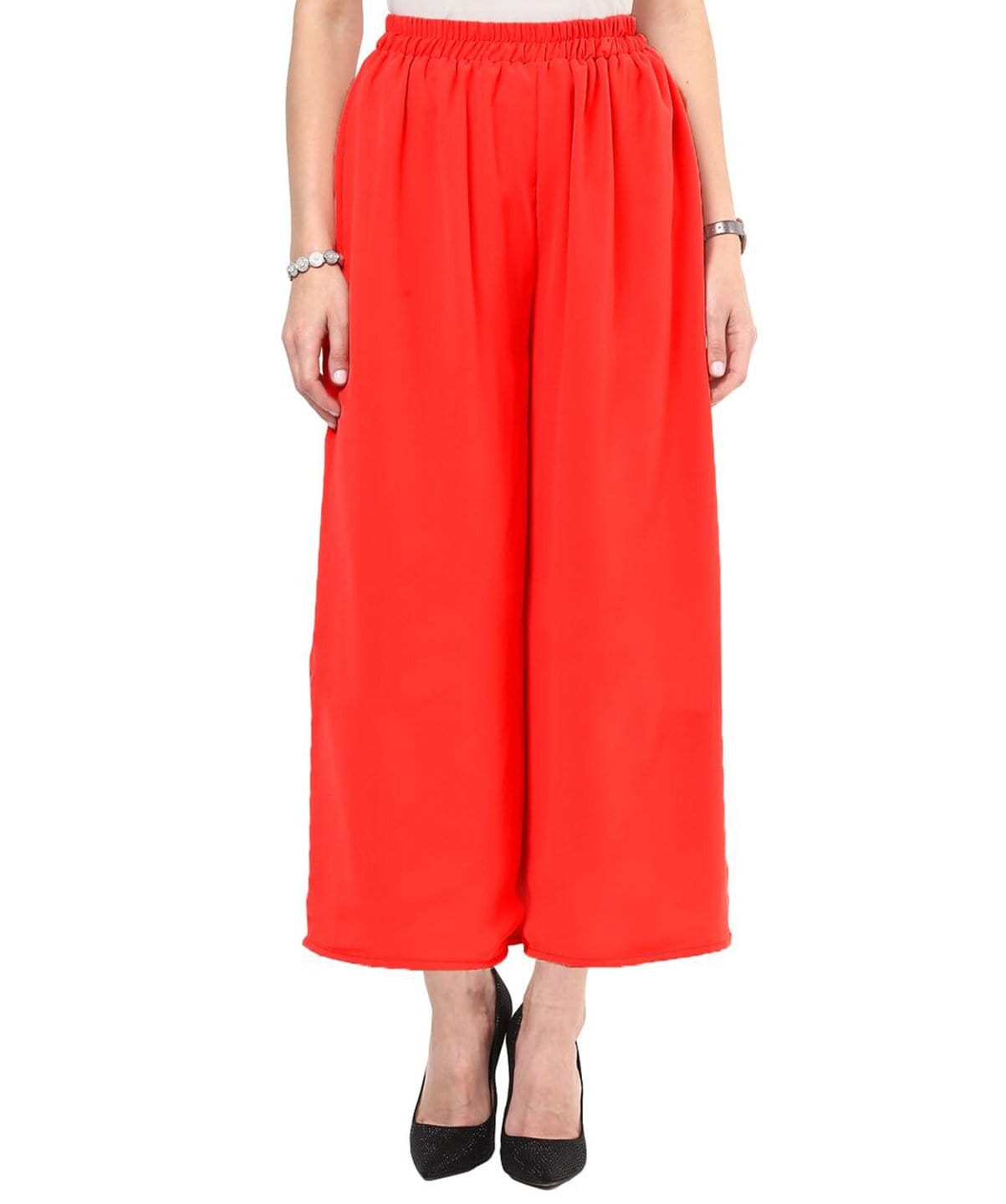 Red Solid Georgette Palazzo - Uptownie