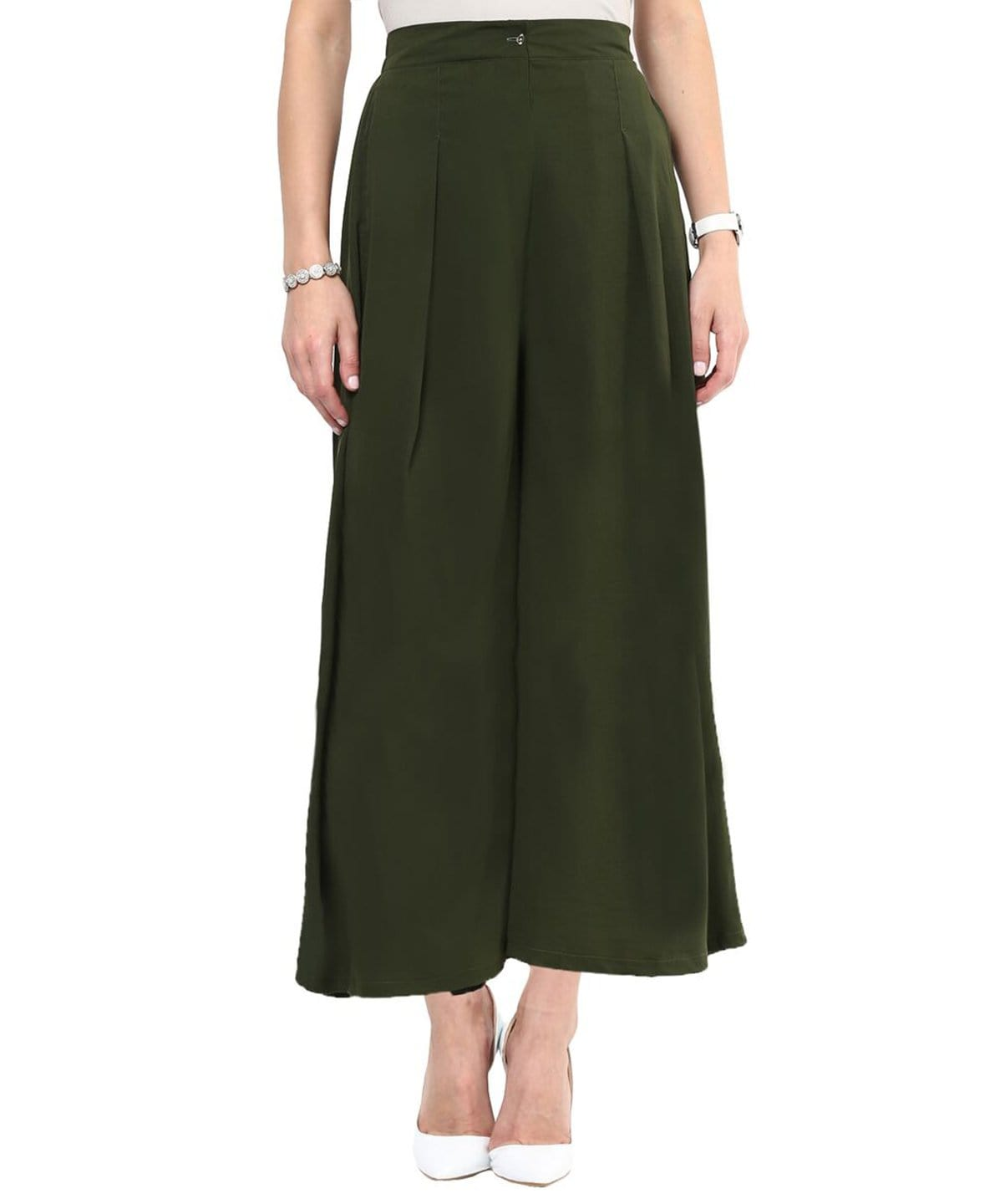 Uptownie Olive Green Palazzo 1 Sale at 399, CLEARANCE SALE