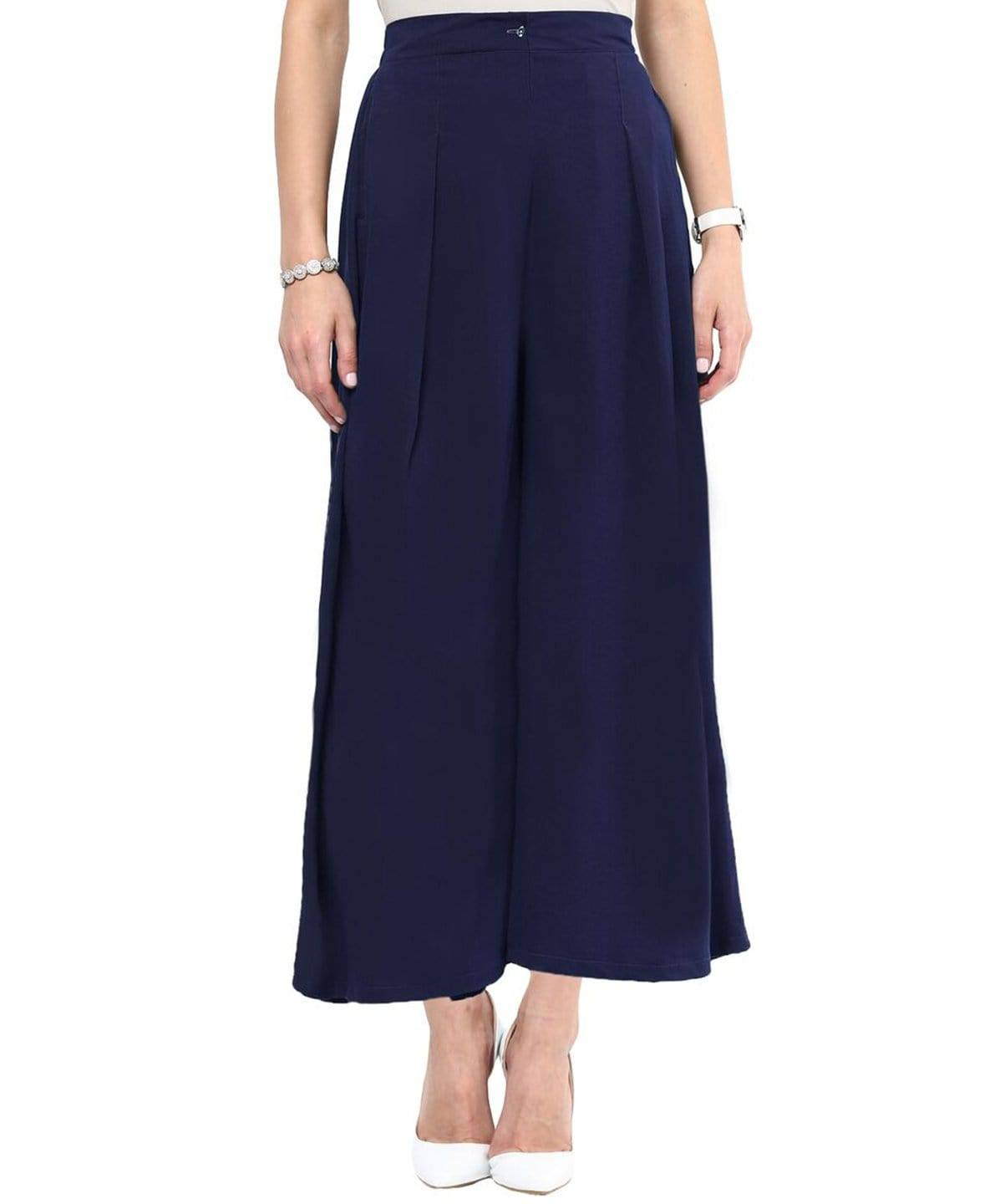 Navy Blue Solid Crepe Palazzo - Uptownie