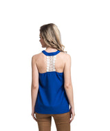 Solid Blue Lace Back Halter Top