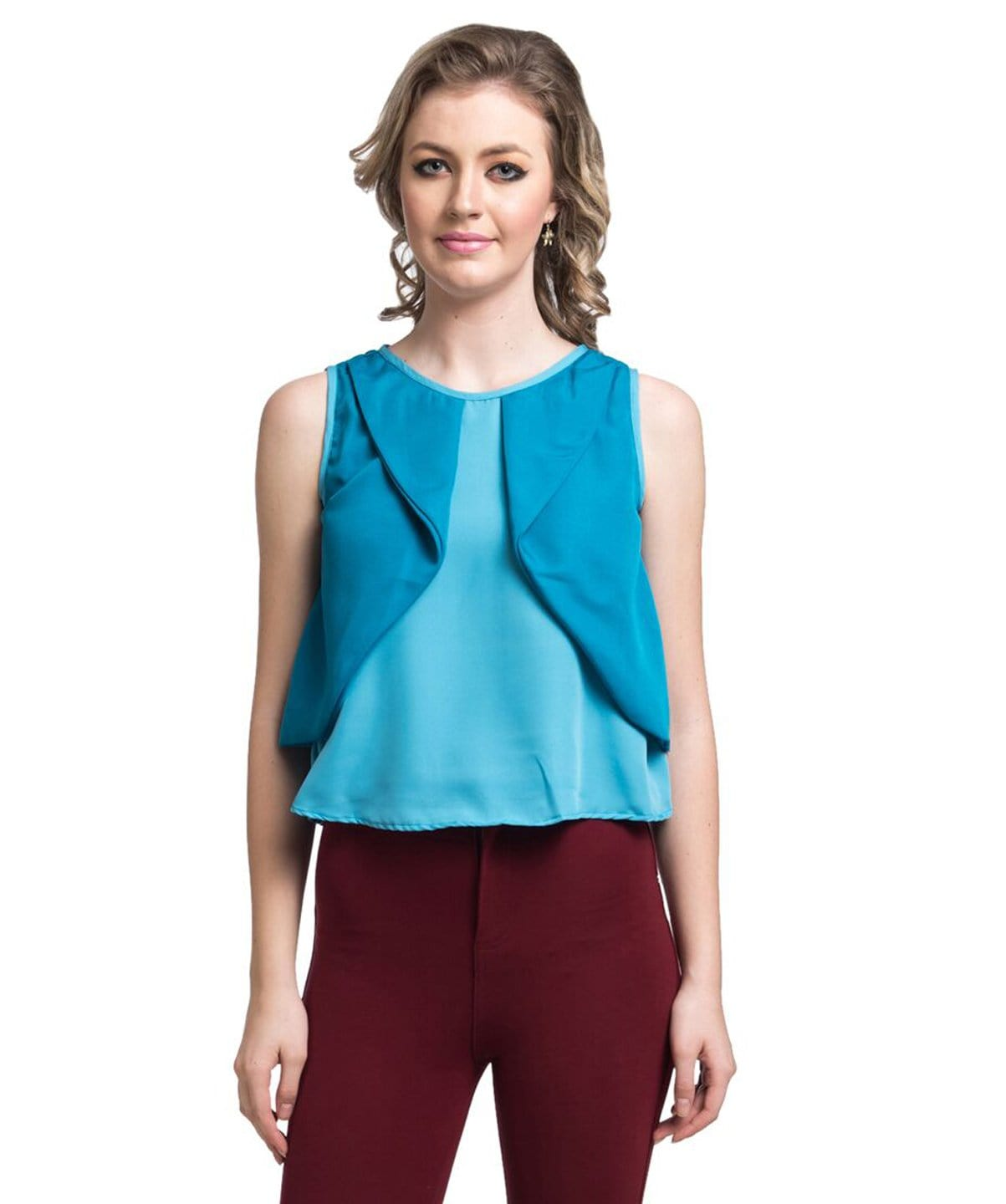 Solid Sky Blue Layered Crepe Top - Uptownie