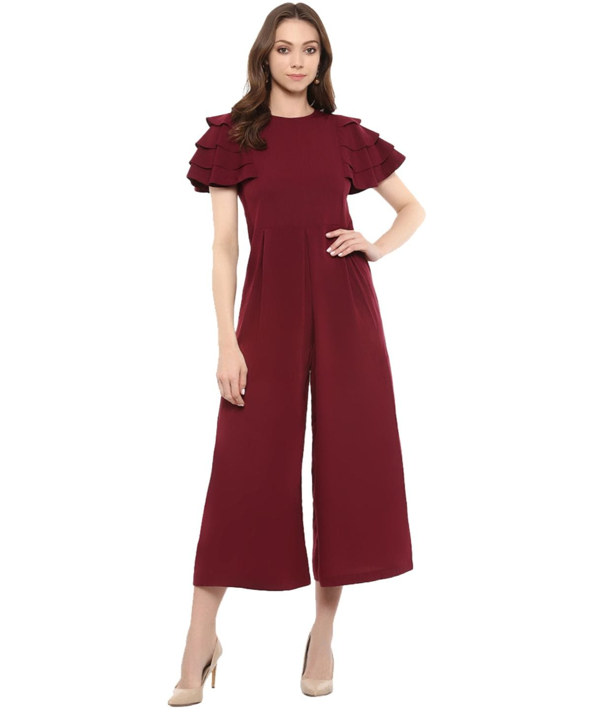 Uptownie Maroon Solid Relaxed Fit Culotte Jumpsuit With Ruffled Sleeves