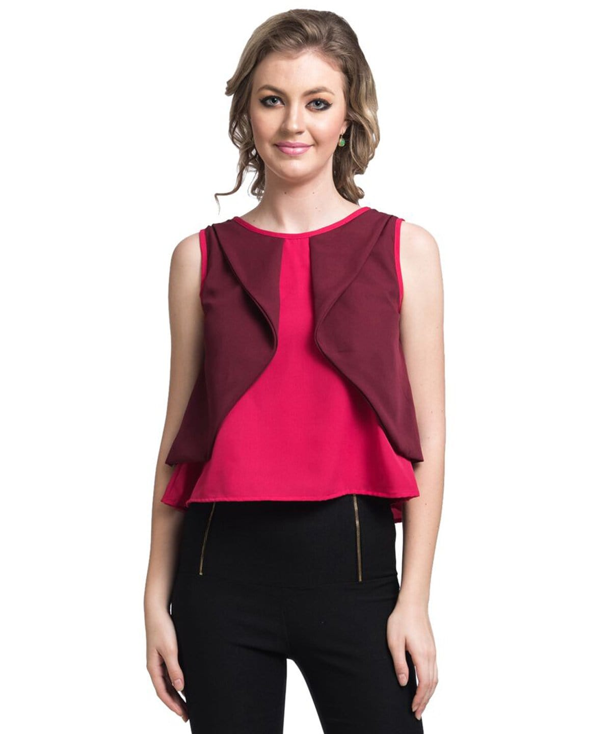 Solid Red Casual Crepe Top - Uptownie