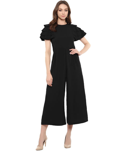 Uptownie Black Solid Relaxed Fit Culotte Jumpsuit With Ruffled Sleeves