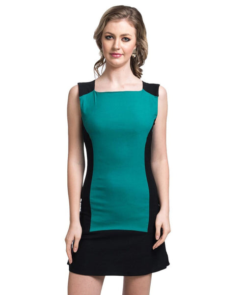 Solid Green Bodycon Stretchable Cotton Dress - Uptownie
