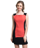 Solid Orange Bodycon Stretchable Cotton Dress - Uptownie