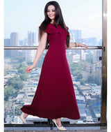 Uptownie Plus Maroon Solid Crepe Ruffled Maxi Dress/Gown