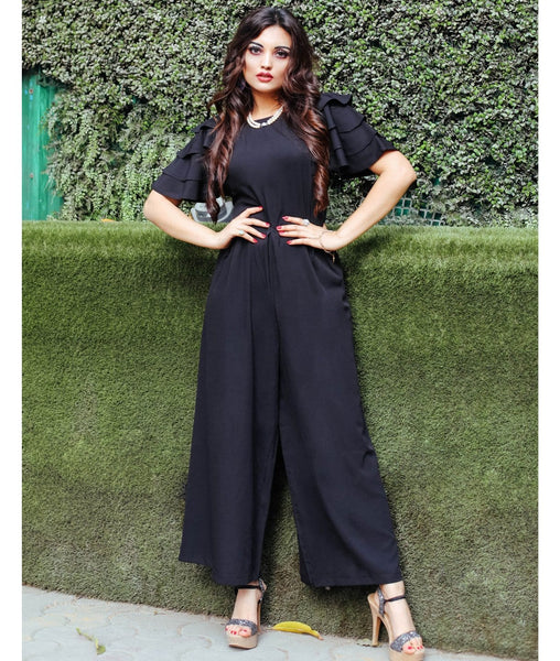 Relaxed Fit Full Length Jumpsuit With Ruffled Sleeves