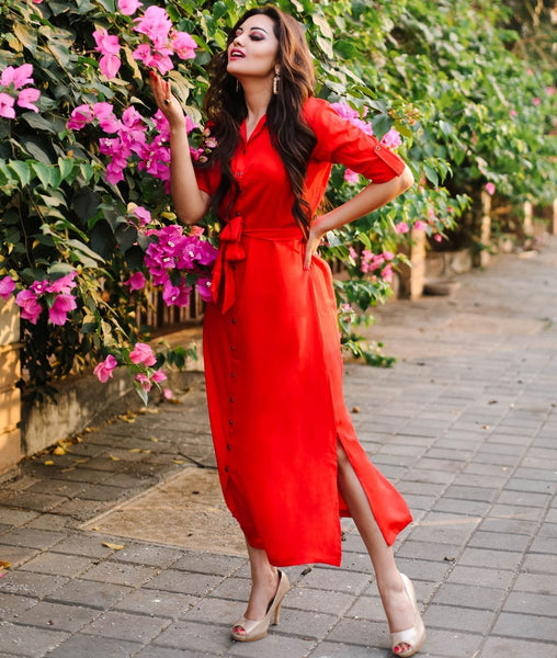 Uptownie Red Solid Button Down Maxi Shirt Dress
