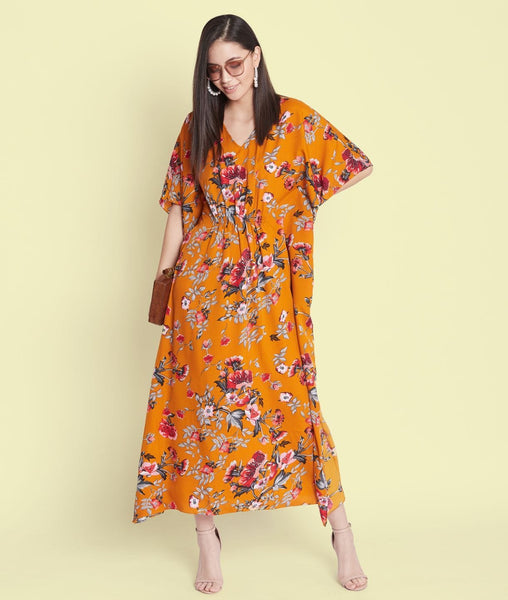 Comfortable Mustard Printed Kaftan Which Doubles Up As A Nightie