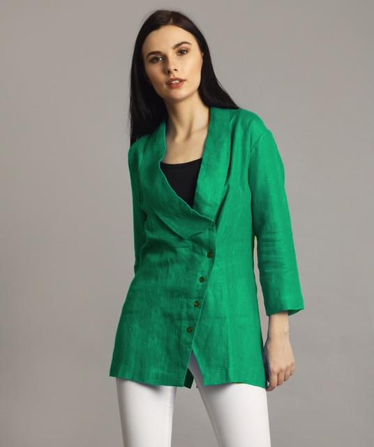 Green Linen Jacket Style Tunic