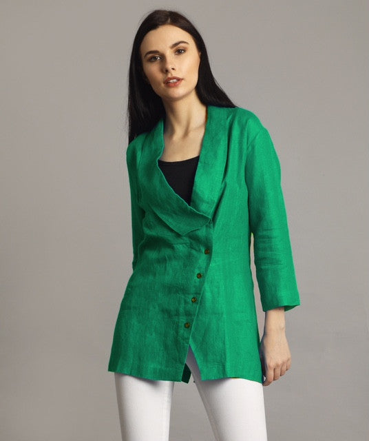 Uptownie Plus Green Linen Jacket Style Tunic 1 summer sale