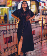 Uptownie Plus Ruffled Buttoned Cold Shoulder Black Maxi Dress - Uptownie