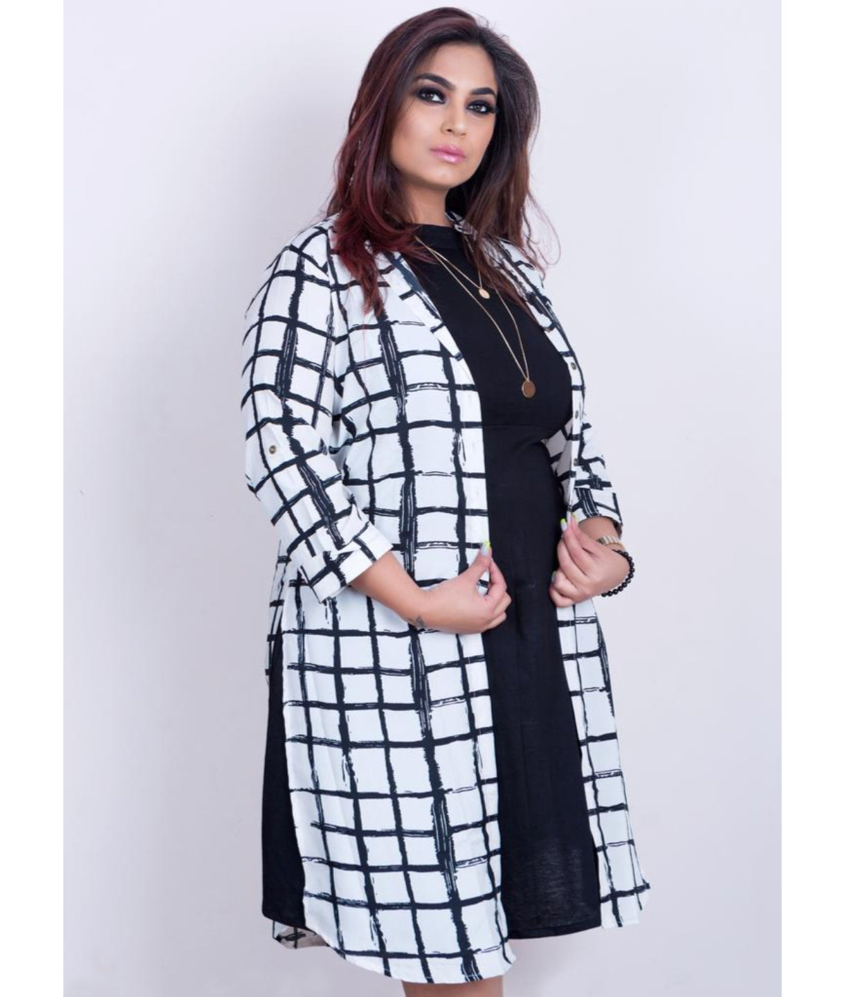 Uptownie Plus Black and White Coloured Cotton Checked Tunic