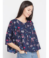 Printed Navy Button Down Cape Top