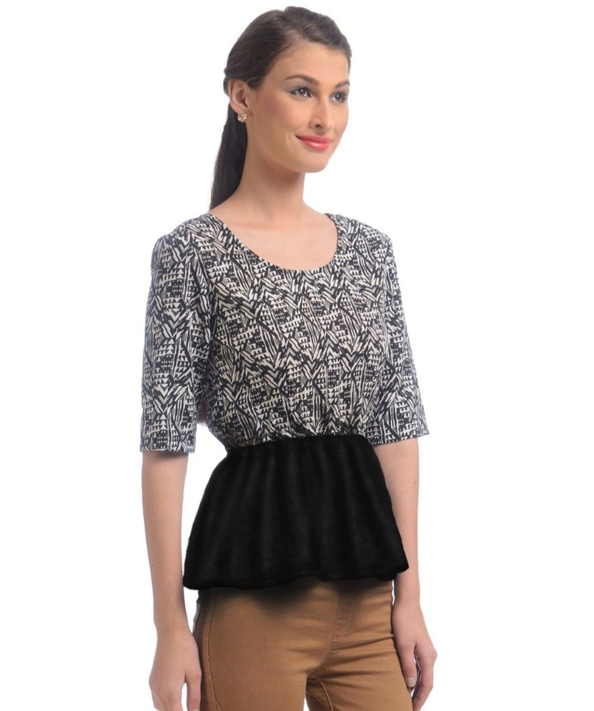 Black Printed Peplum Crepe Top - Uptownie