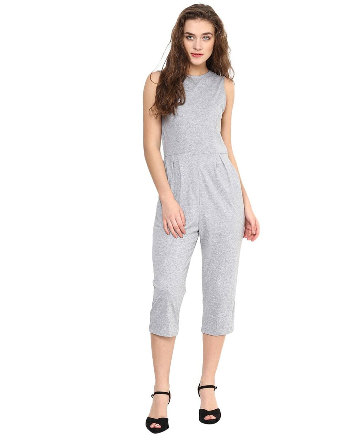 Grey Solid Cropped Cotton Culottte Jumpsuit - Uptownie
