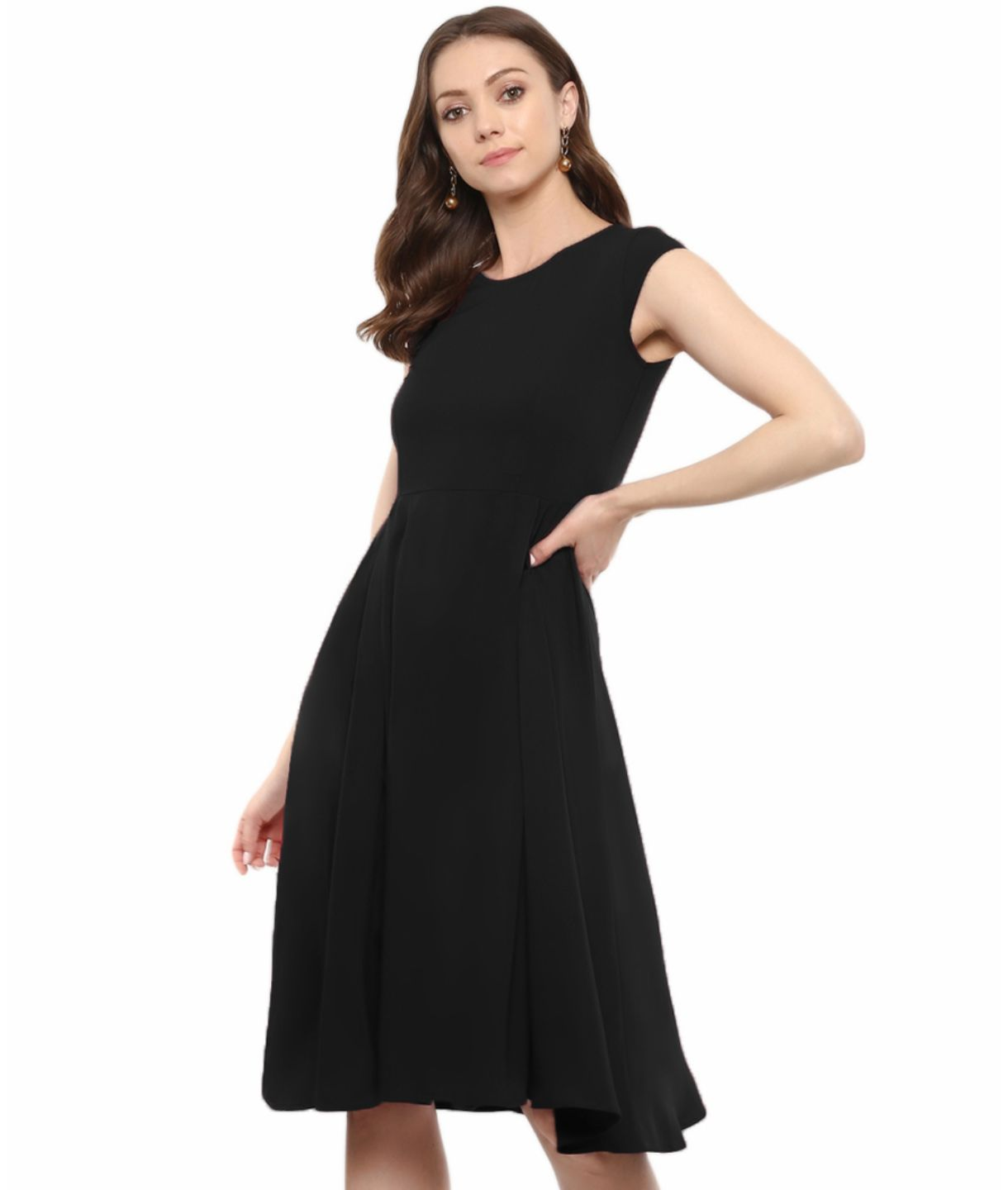Uptownie Plus Black Solid Cap Sleeves Skater Dress