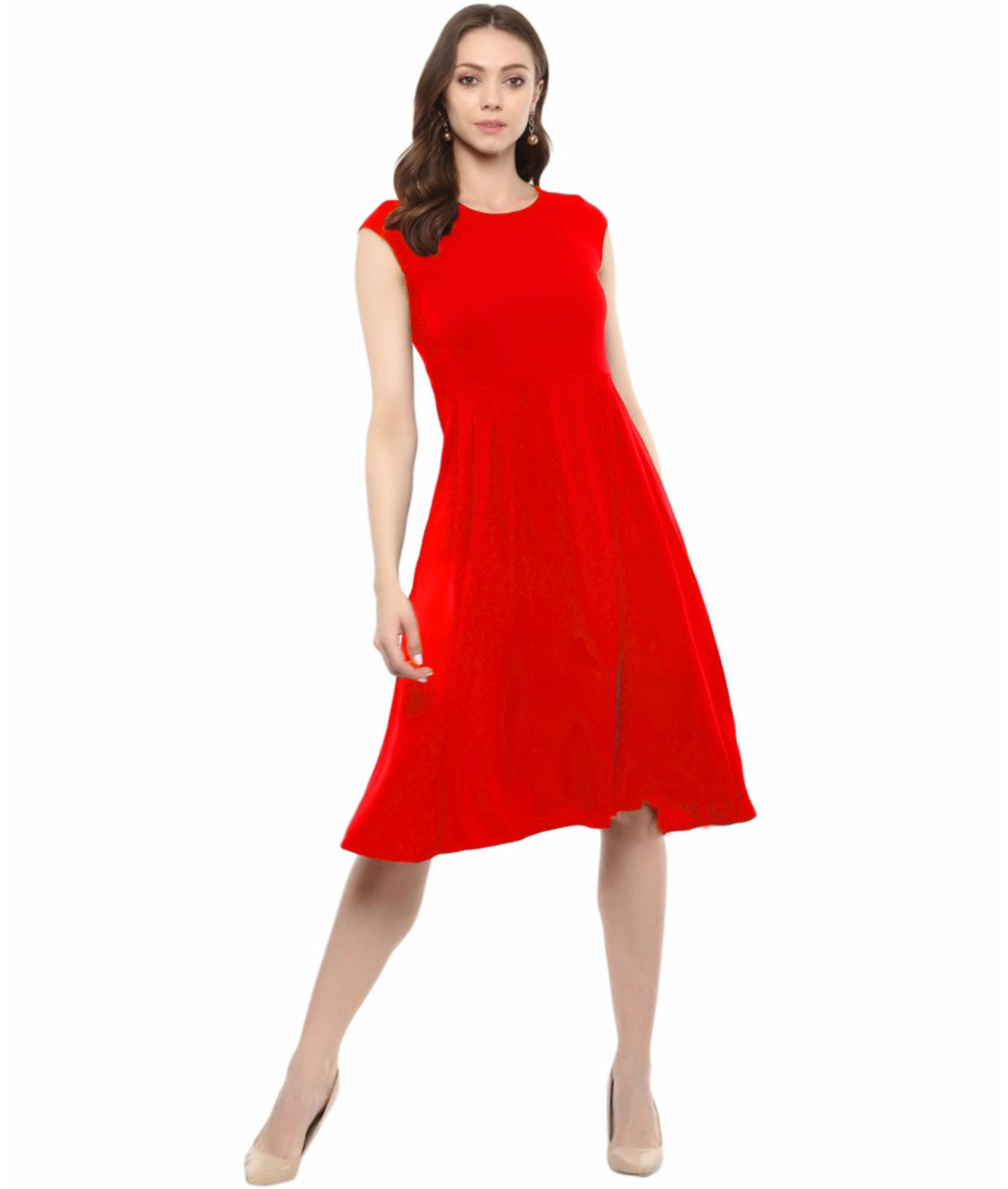 Uptownie Plus Red Solid Cap Sleeves Skater Dress