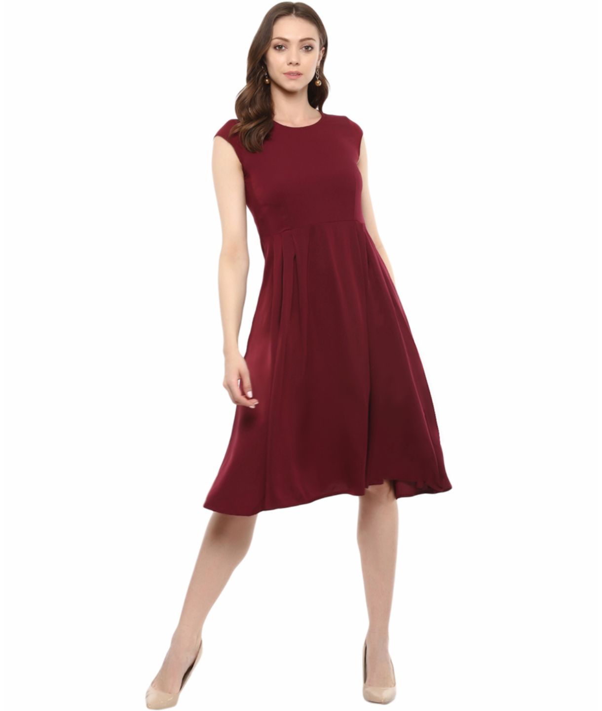 Uptownie Plus Maroon Solid Cap Sleeves Skater Dress