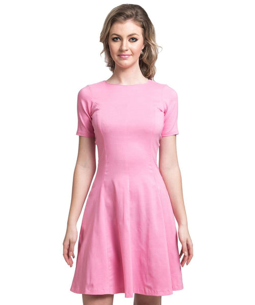 Solid Pink Skater Cotton Dress - Uptownie
