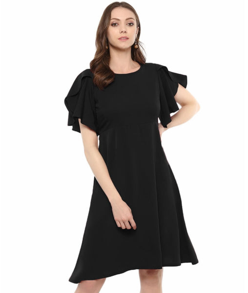 Black Solid Ruffle Sleeves Fit and Flare Crepe Skater Dress
