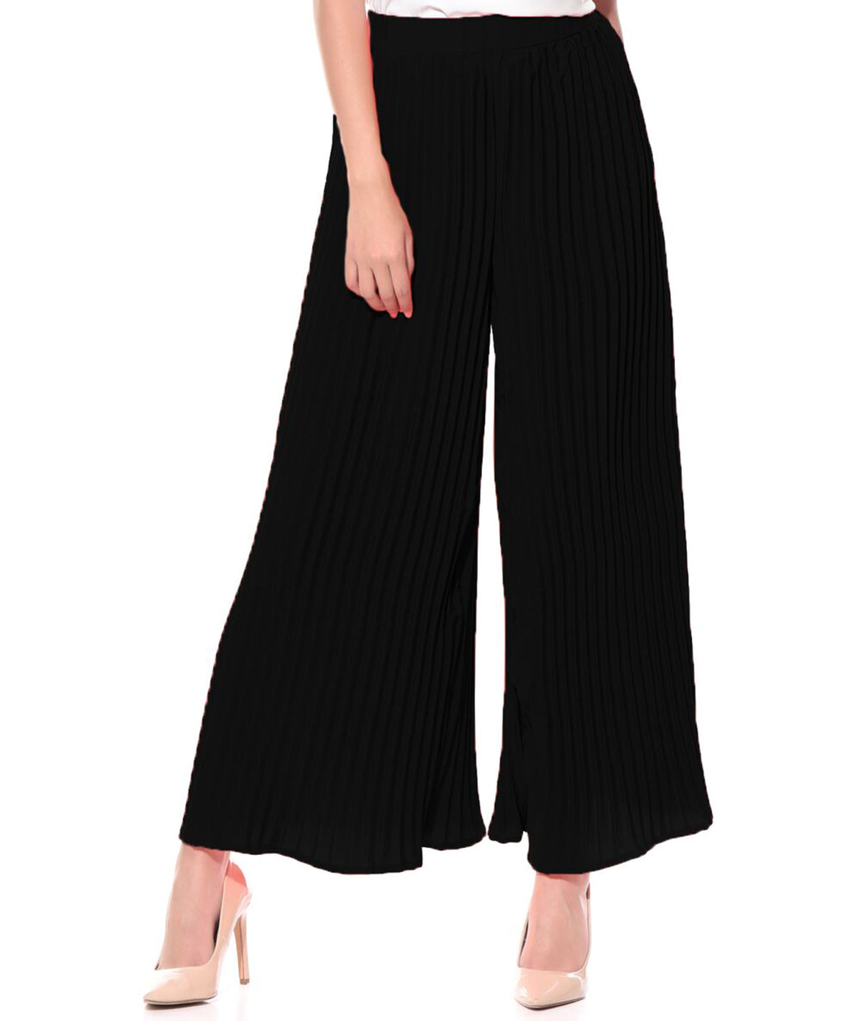 Black Pleated Crepe Palazzo - Uptownie