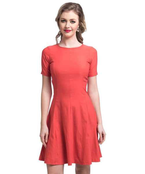 Solid Orange Skater Dress - Uptownie