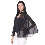 Solid Black Georgette Cape